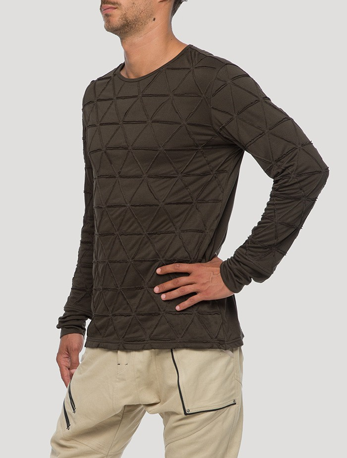 "T-shirt manches longues \""Zentangle\"", Vert kaki"