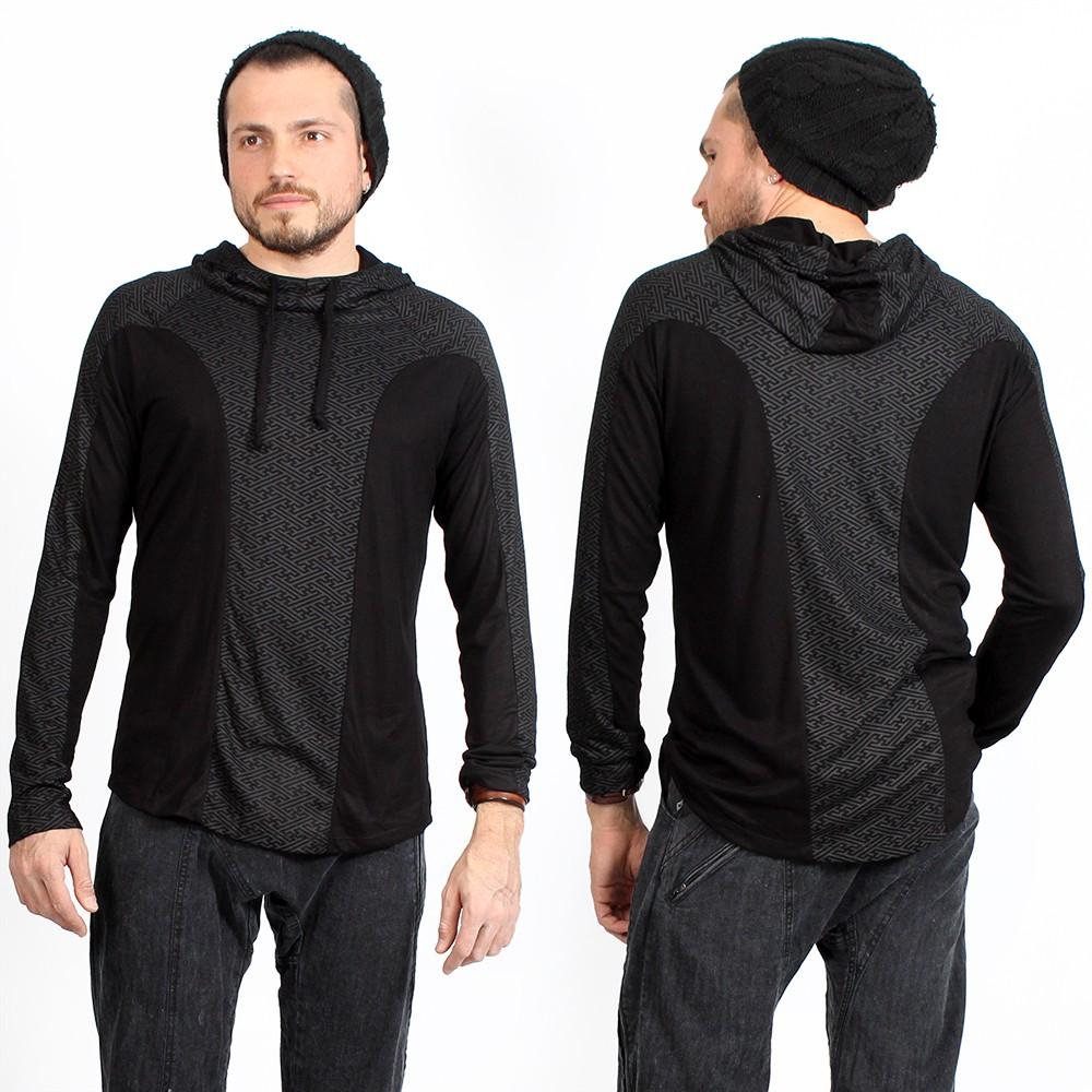 """T-shirt manches longues à capuche \""""Apollo Swastika\"""", Noir"""