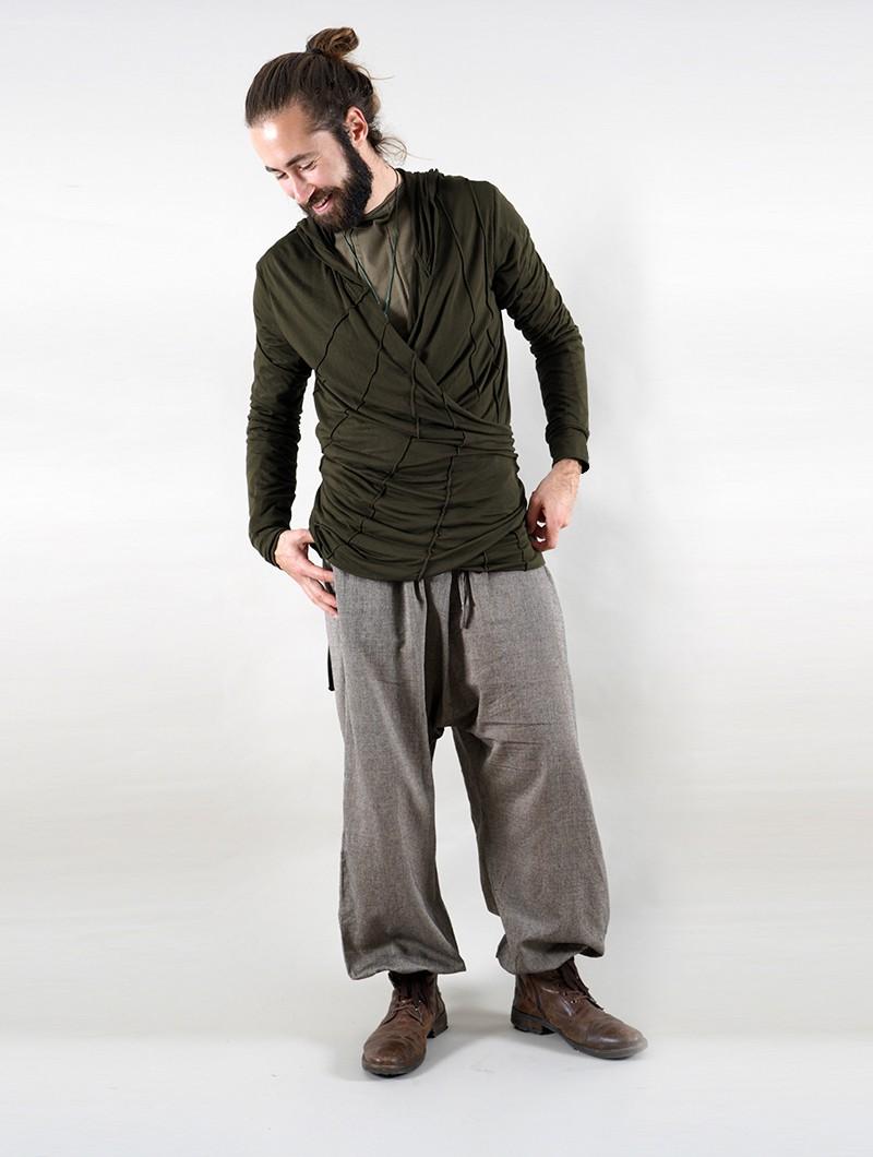 "T-shirt manches longues à capuche \""Samouraï\"", Vert kaki"