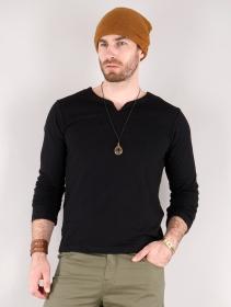 """T-shirt manches longues à col mao \""""Legolas\"""", Noir"""