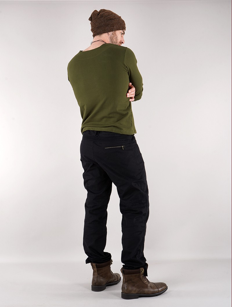 "T-shirt manches longues à col mao \""Legolas\"", Vert kaki"