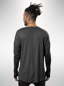 """T-shirt manches longues unisexe \""""Okinami\"""", Gris délavé vieilli"""