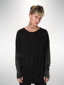 """T-shirt manches longues unisexe \""""Okinami\"""", Noir"""