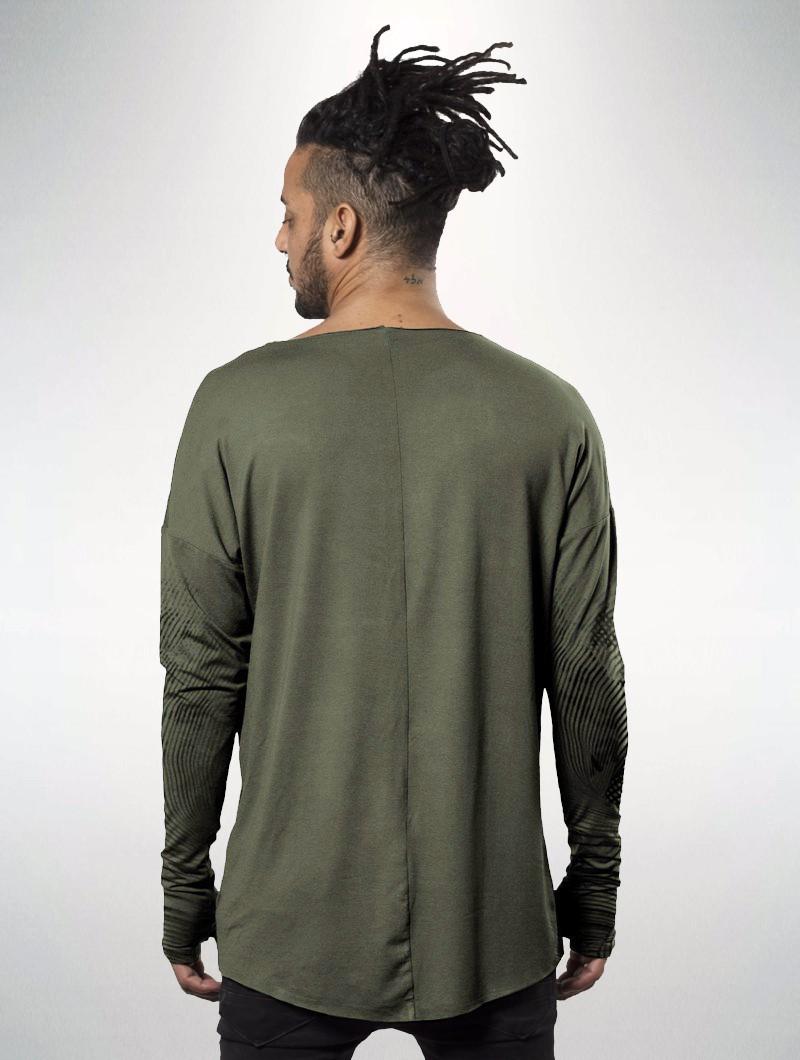 """T-shirt manches longues unisexe \""""Okinami\"""", Vert kaki délavé vieilli"""
