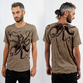 T-shirt octopus marron clair