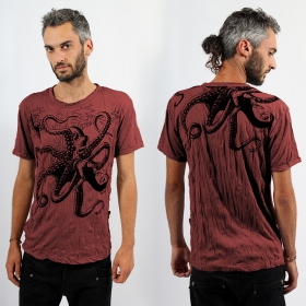 T-shirt octopus rouge foncé