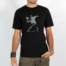"T-shirt Rocky ""Banksy hooligan flowers\"", Noir"