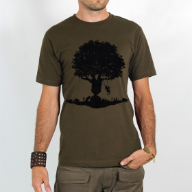 "T-shirt Rocky ""Castor tree\"", Marron clair"