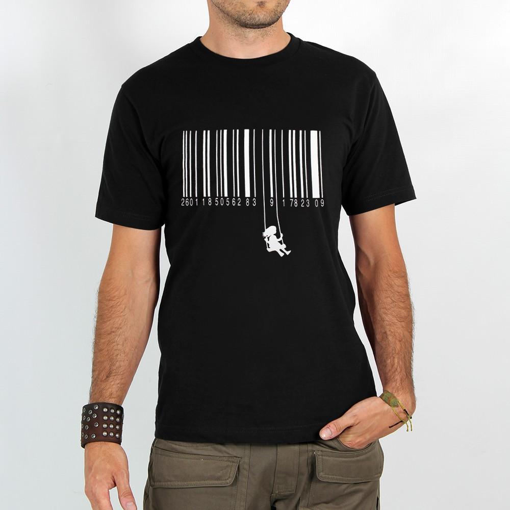"T-shirt Rocky \""Code barre balançoire\"", Noir"
