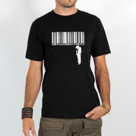 """T-shirt Rocky \""""Code barre suicide\"""", Noir"""