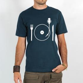 """T-shirt Rocky \""""Eat vinyl\"""", Bleu"""