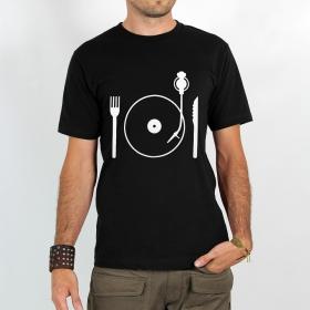 """T-shirt Rocky \""""Eat vinyl\"""", Noir"""