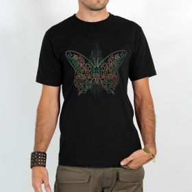 "T-shirt Rocky \""Electronic butterfly\"", Noir"