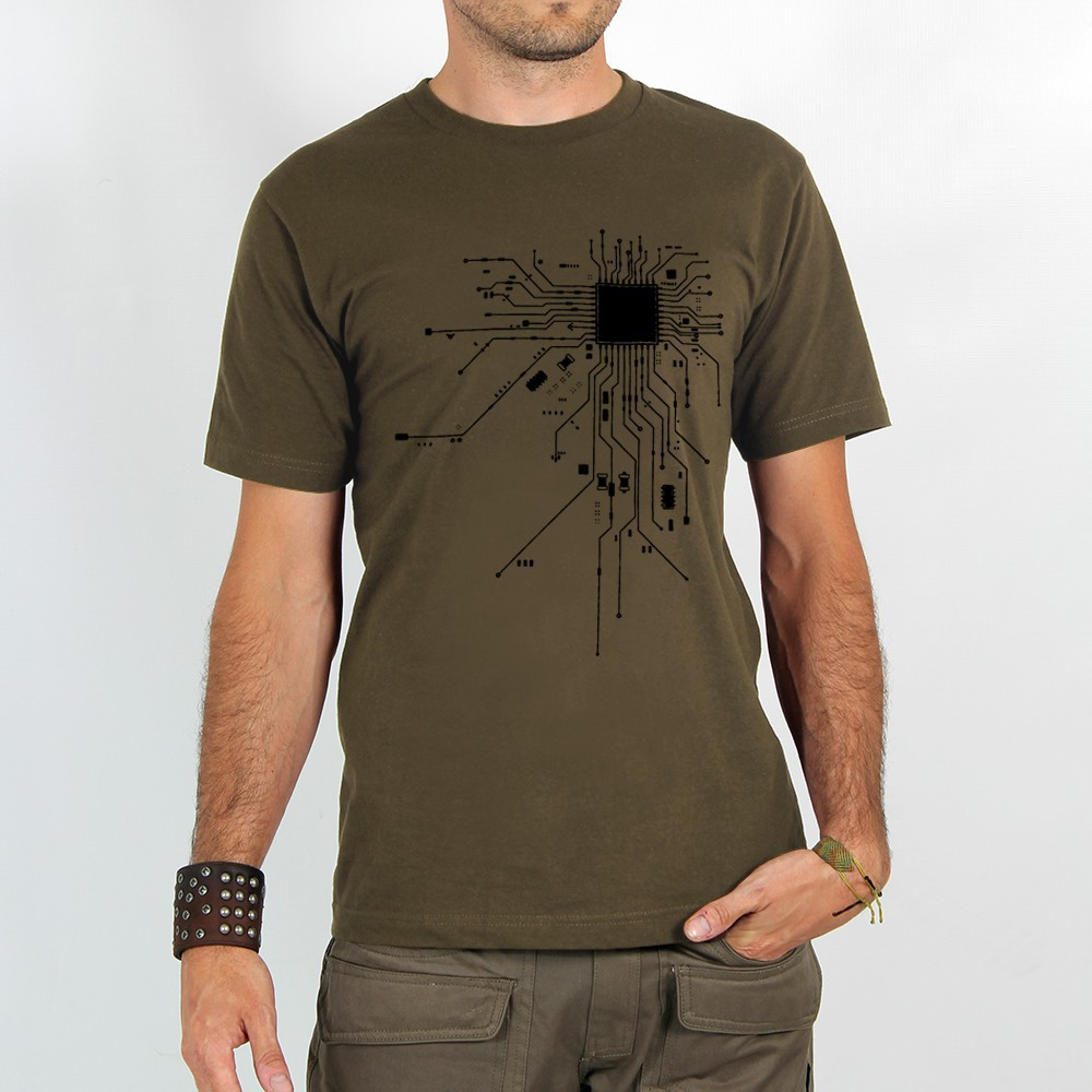 "T-shirt Rocky ""Electrosystem\"", Marron clair"