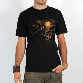"T-shirt Rocky ""Electrosystem\"", Noir orange"