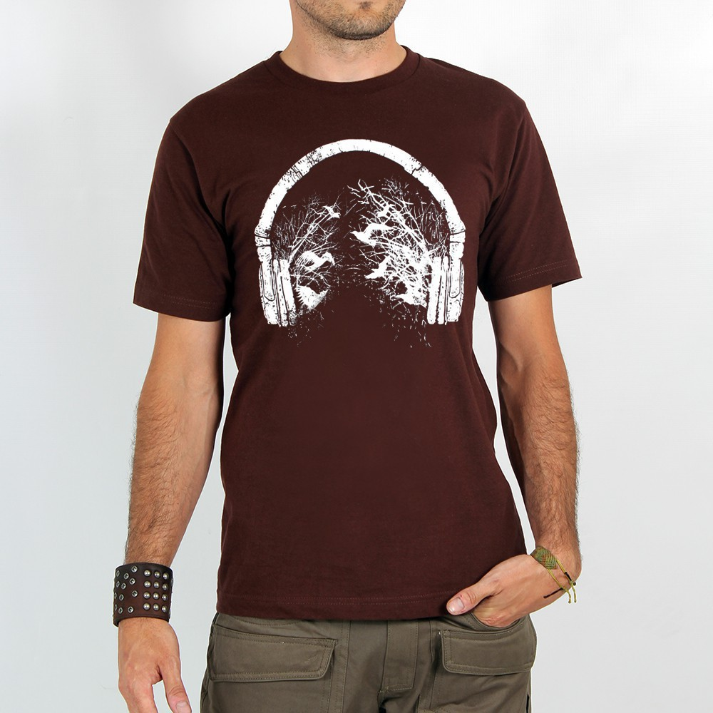 "T-shirt Rocky ""Headphone birds\"", Marron"