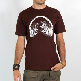 "T-shirt Rocky \""Headphone birds\"", Marron"