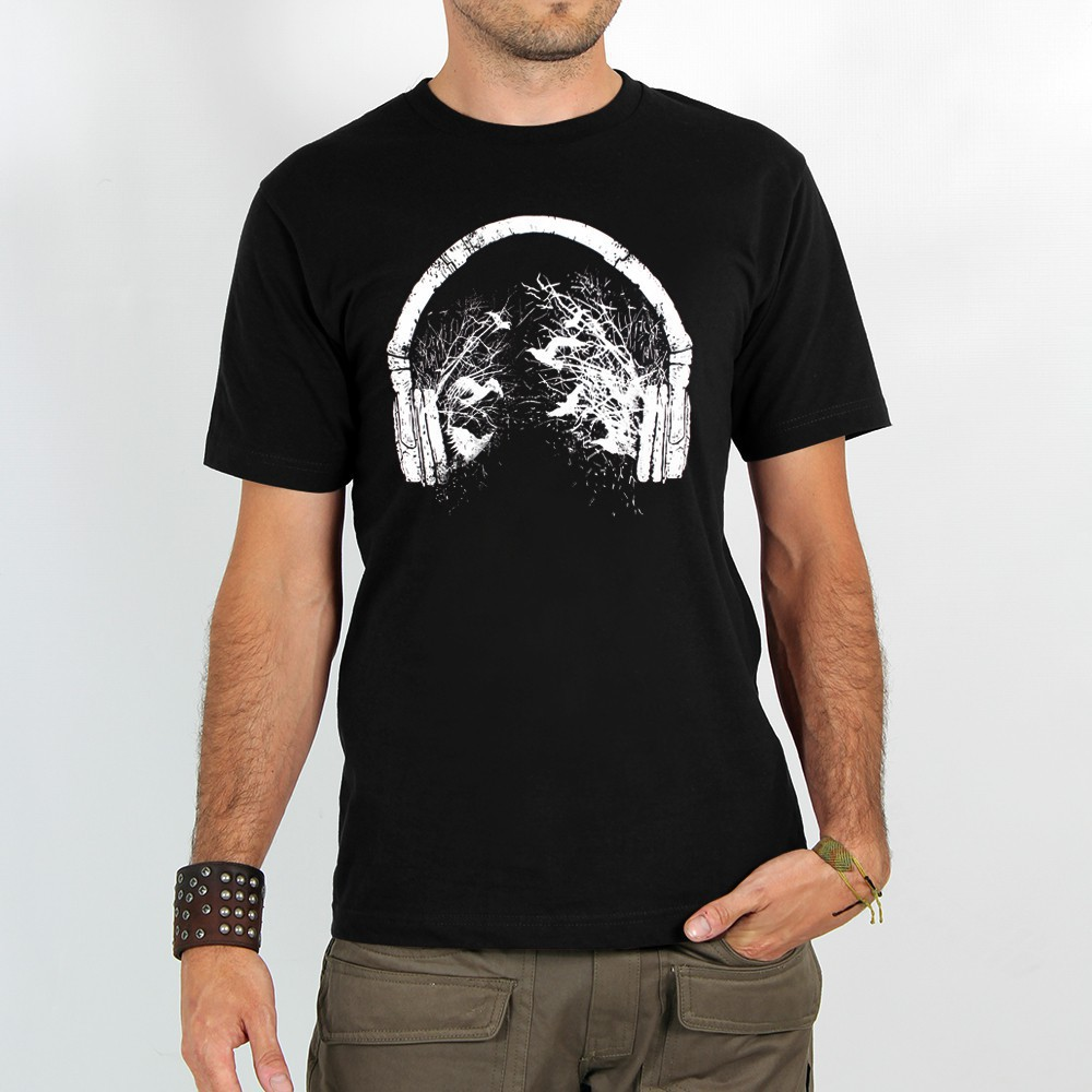 "T-shirt Rocky ""Headphone birds\"", Noir"