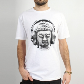"T-shirt Rocky ""Headphone bouddha\"", Blanc"