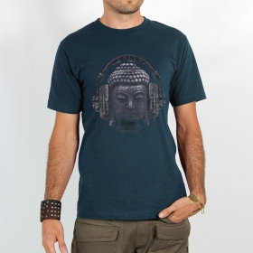 "T-shirt Rocky ""Headphone bouddha\"", Bleu"
