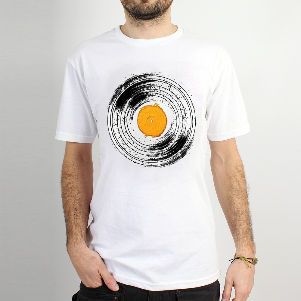 "T-shirt Rocky ""Interstellar vinyl\"", Blanc"