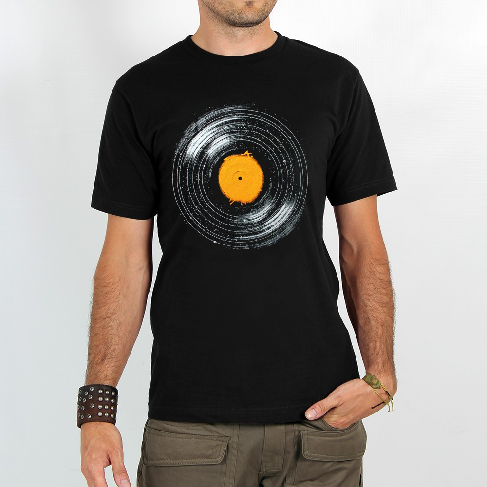 "T-shirt Rocky ""Interstellar vinyl\"", Noir"