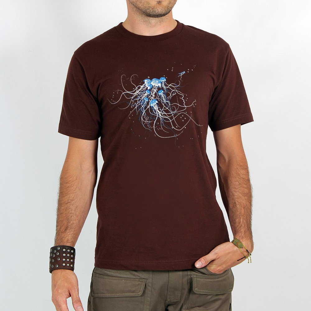 "T-shirt Rocky ""Jellyfish\"", Marron"