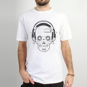 "T-shirt Rocky \""Liveset skull\"", Blanc"