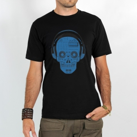 "T-shirt Rocky \\\""Liveset skull\\\"", Noir et bleu"