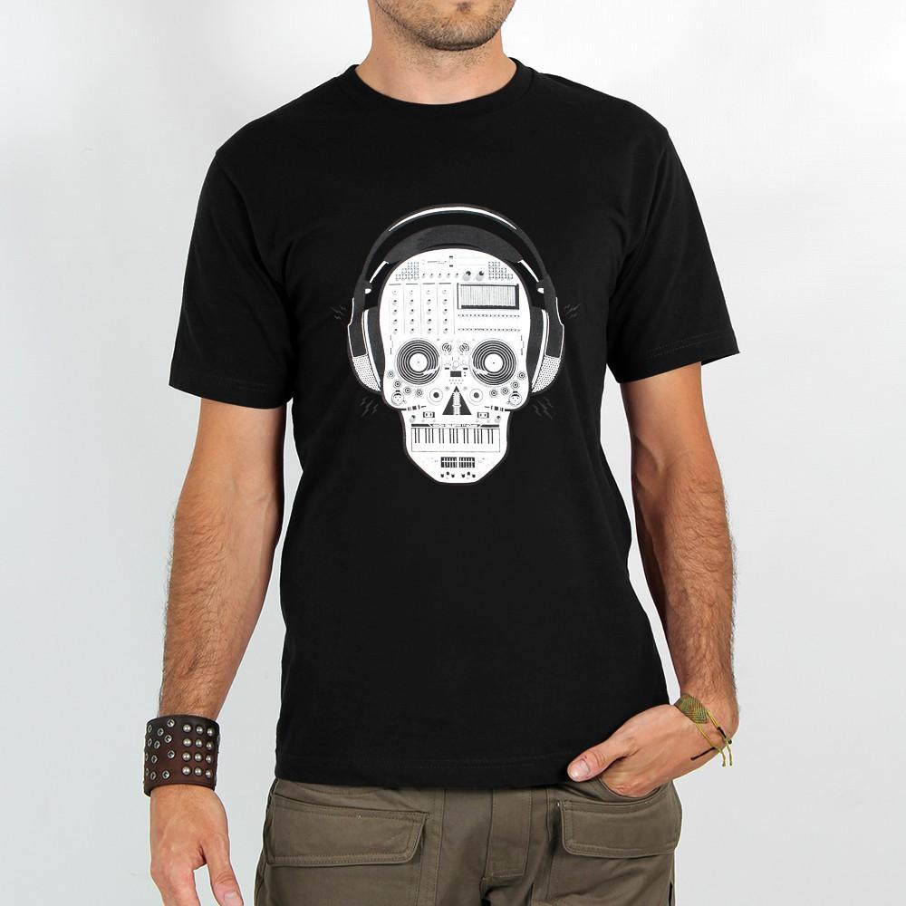 """T-shirt Rocky \""""Liveset skull\"""", Noir"""