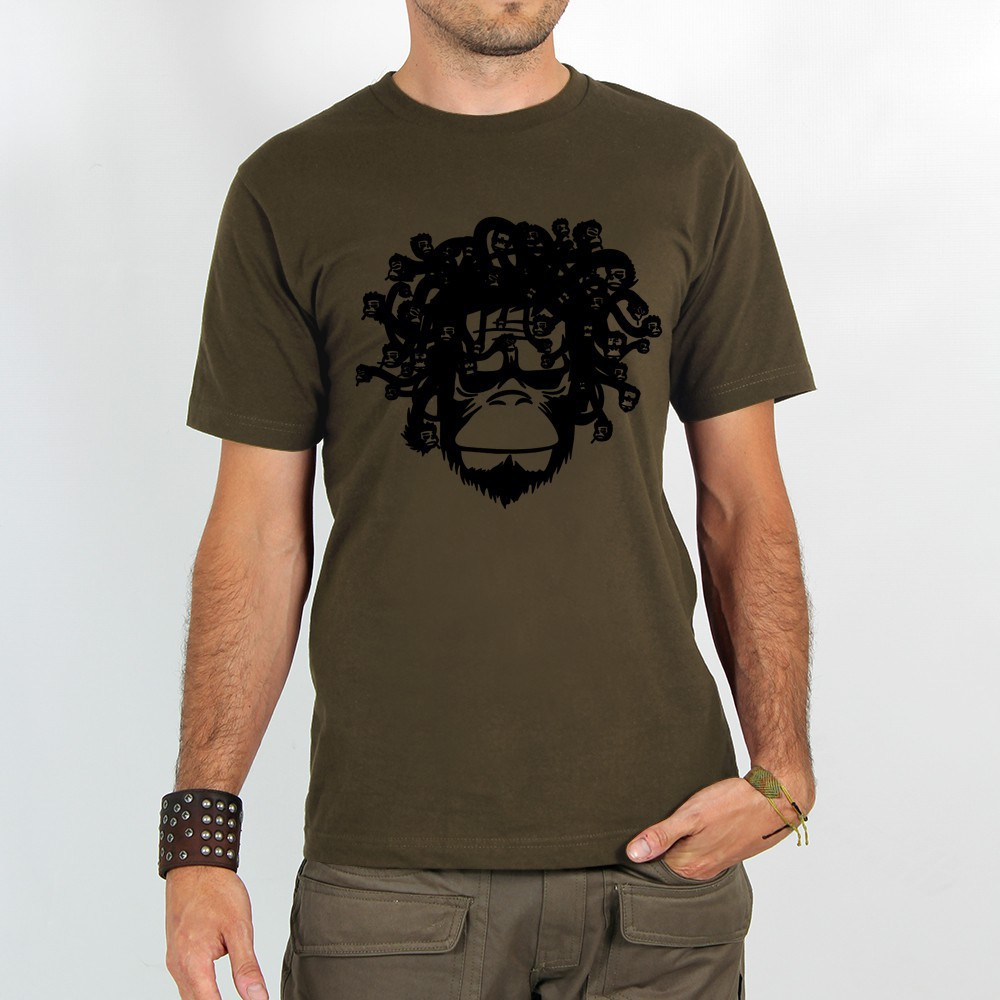 """T-shirt Rocky \""""Medusa monkey\"""", Marron clair"""