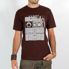 "T-shirt Rocky \""Mur de son\"", Marron"