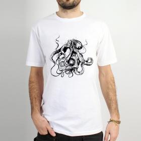 "T-shirt Rocky \""Octopus k7\"", Blanc"