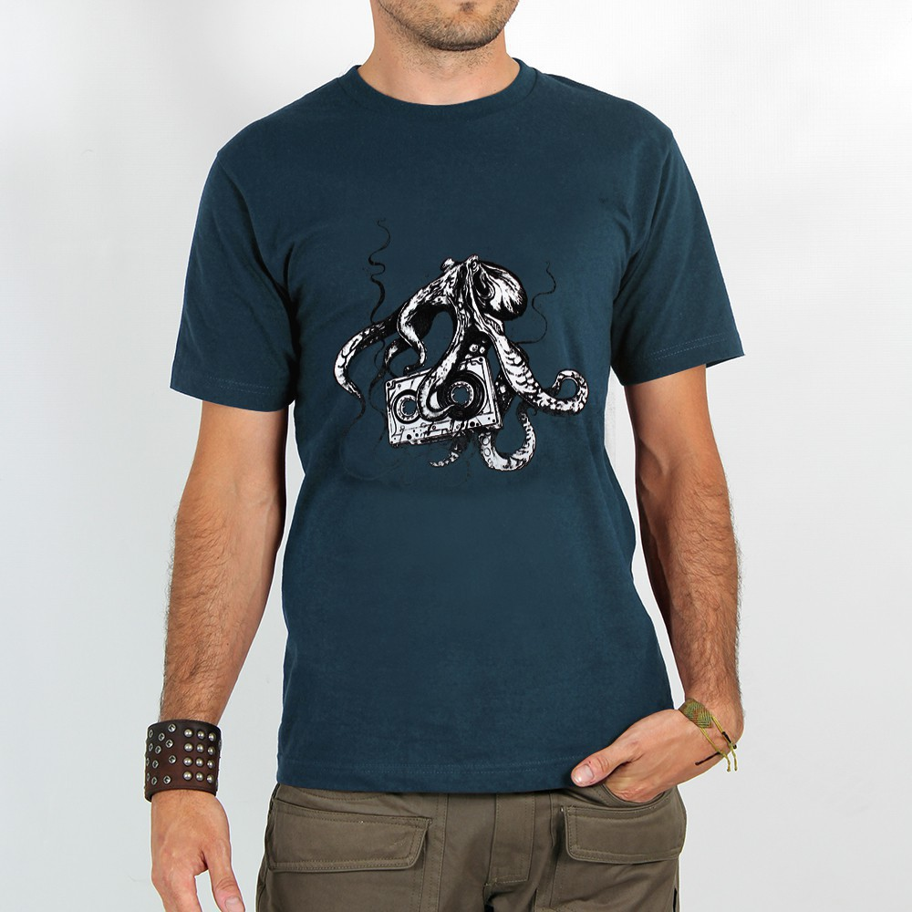 "T-shirt Rocky \""Octopus k7\"", Bleu foncé"