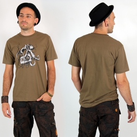 "T-shirt Rocky ""Octopus k7\"", Marron clair"