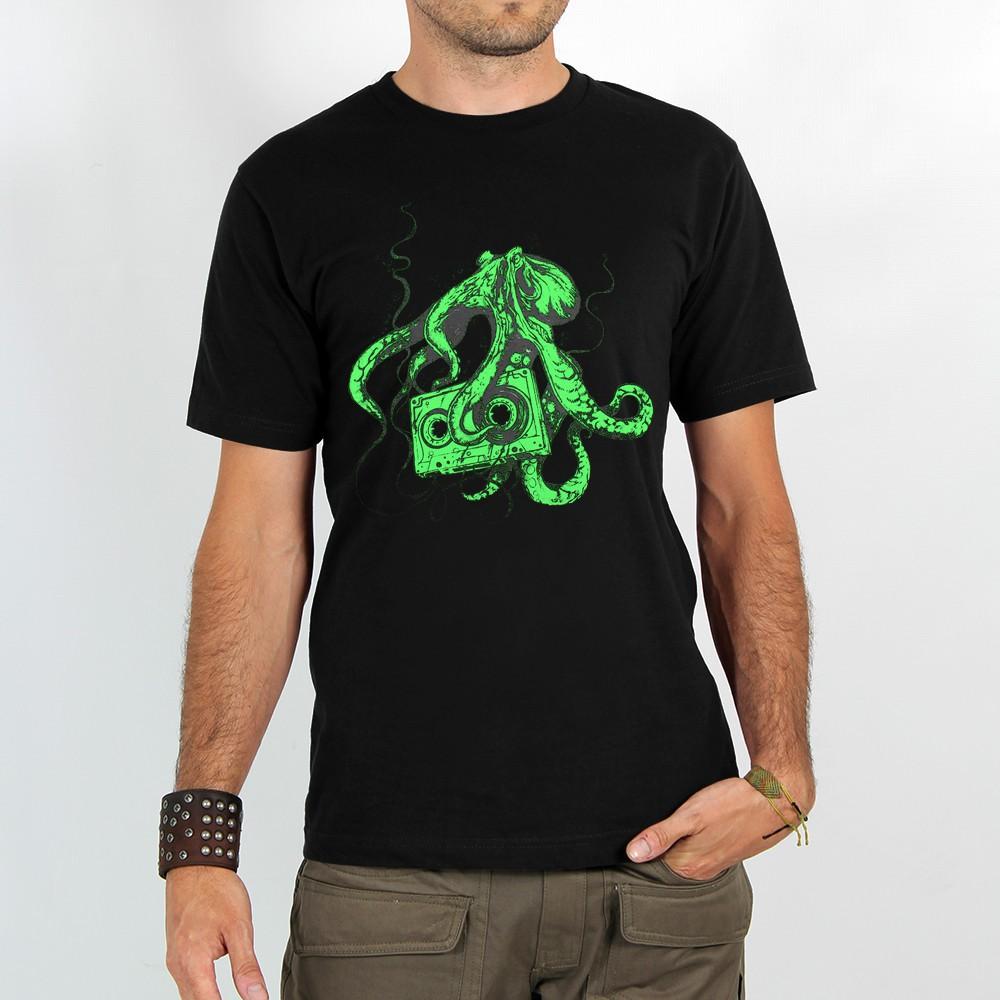 """T-shirt Rocky \""""Octopus k7\"""", Noir et Vert"""