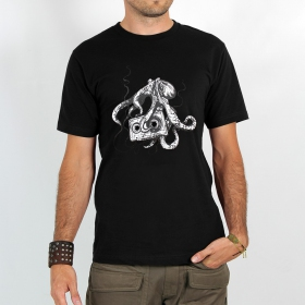 """T-shirt Rocky \""""Octopus k7\"""", Noir"""