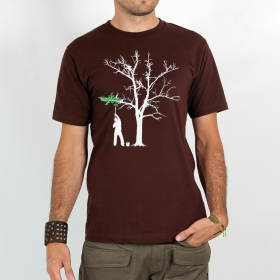 "T-shirt Rocky ""Painting tree\"", Marron"