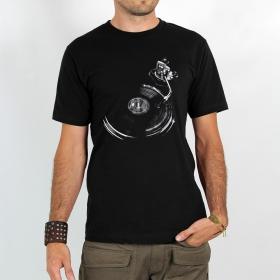 "T-shirt Rocky \""Play record\"", Noir"