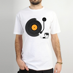 "T-shirt Rocky ""Record painter\"", Blanc"