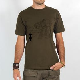 "T-shirt Rocky \""Robot pet\"", Marron clair"