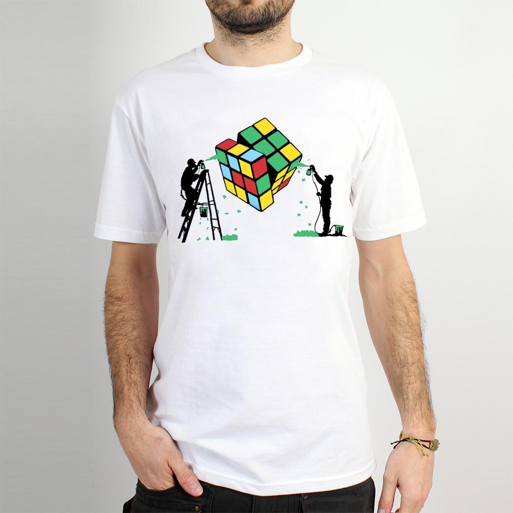 "T-shirt Rocky \""Rubik\'s cube graffiti\"", Blanc"