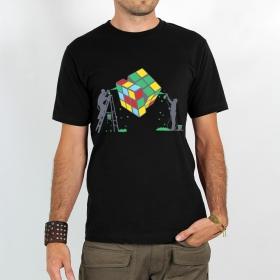 "T-shirt Rocky \""Rubik\'s cube graffiti\"", Noir"
