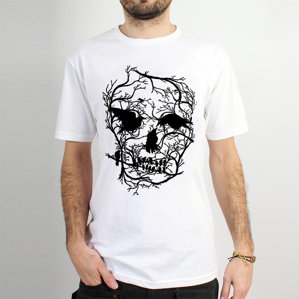 "T-shirt Rocky \""Skull\"", Blanc"