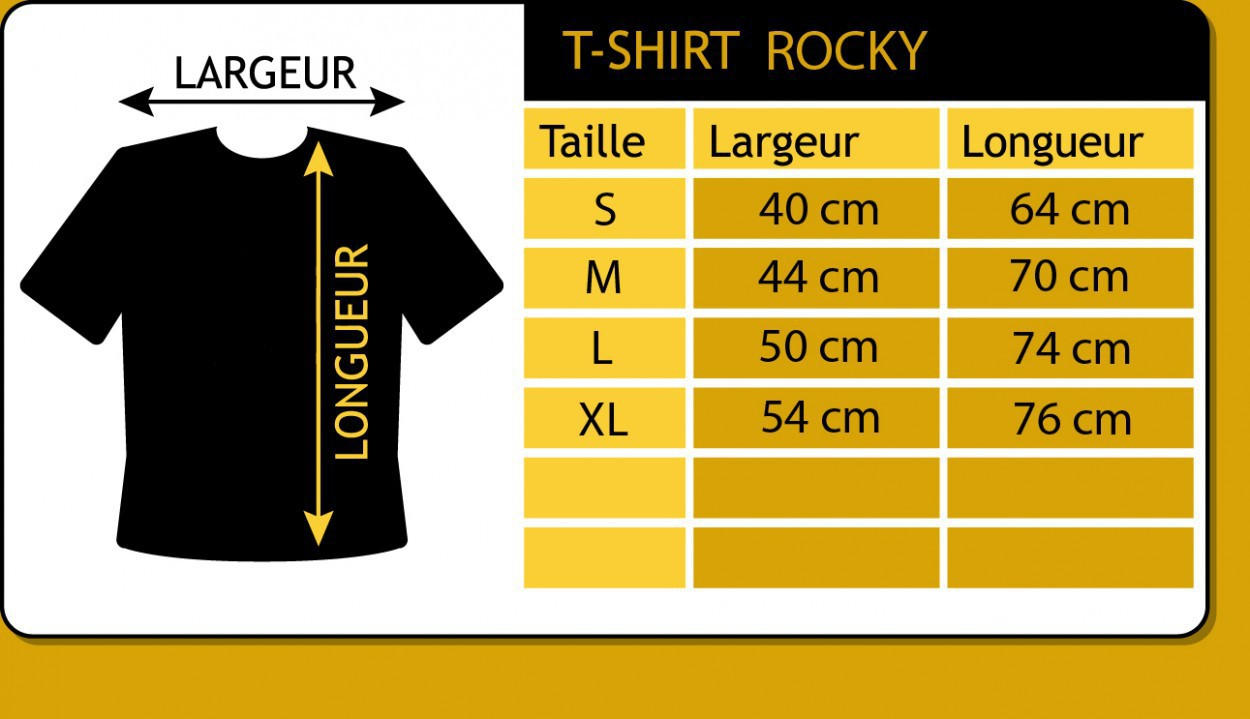 "T-shirt Rocky \""Spirale infernale\"", Noir"