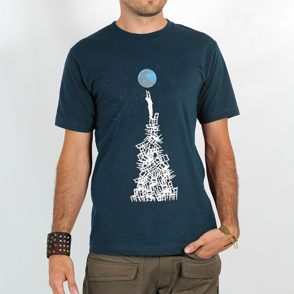 "T-shirt Rocky ""Touch the earth\"", Bleu"