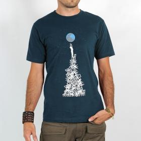 """T-shirt Rocky \""""Touch the earth\"""", Bleu"""