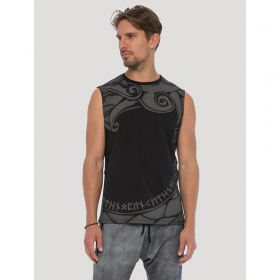"T-shirt sans manches ""Dragon\"", Noir"