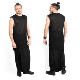 "T-shirt sans manches \""Sanokara\"", Noir"