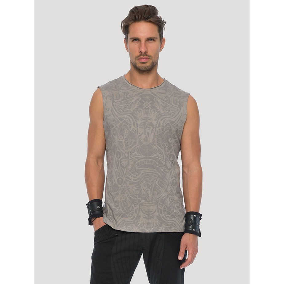 "T-shirt sans manches ""Warrior\"", Beige"